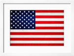 American Flag with Wood Patterning Framed Print