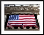 American Flags at the New York Stock Exchange Framed Print