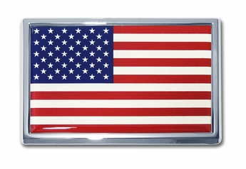 Chrome US Flag Automobile Emblem