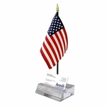 Crystal Card Holder US Flag Display