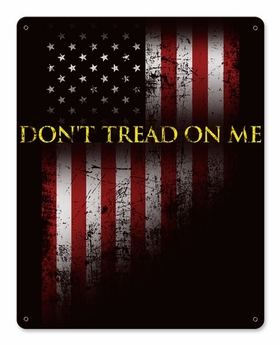 Don't Tread On Me Satin Metal Sign with American Flag