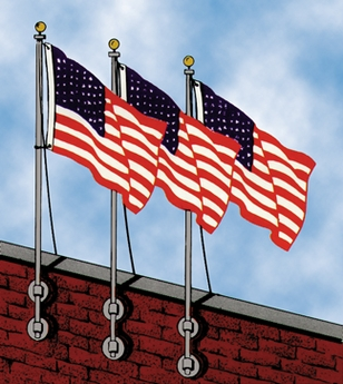 Franklin Series Vertical Wall-Mounted Flagpole Kit