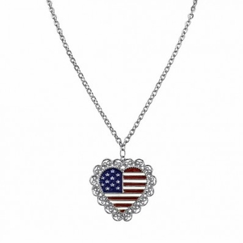 Heart-Shaped American Flag Necklace