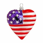 Heart Shaped US Flag Glass Ornament