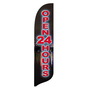 Open 24 Hours Blade Flag
