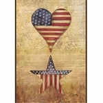 Patriotic Heart and Star Garden Flag