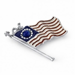 Patriotic Waving American Flag Pin