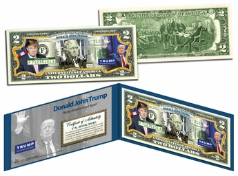 President Donald J. Trump Colorized Collectible $2 Bill