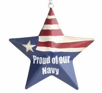 """""""Proud Of Our Navy"""" Metal Star Ornament"""