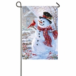 Snowman and Feathered Friend Banner