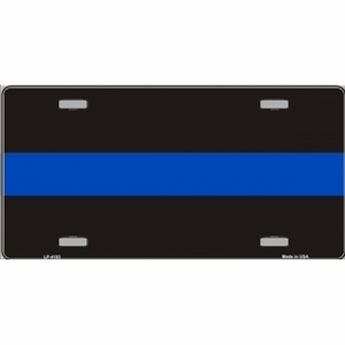 Thin Blue Line Police Metal License Plate