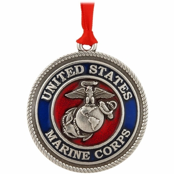 US Marine Corps Pewter Christmas Ornament