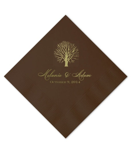 Personalized fall wedding napkins custom beverage party napkin for Printed wedding napkins