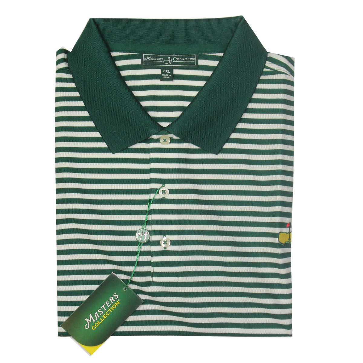 Masters Pique Golf Shirt Green And White Striped Big
