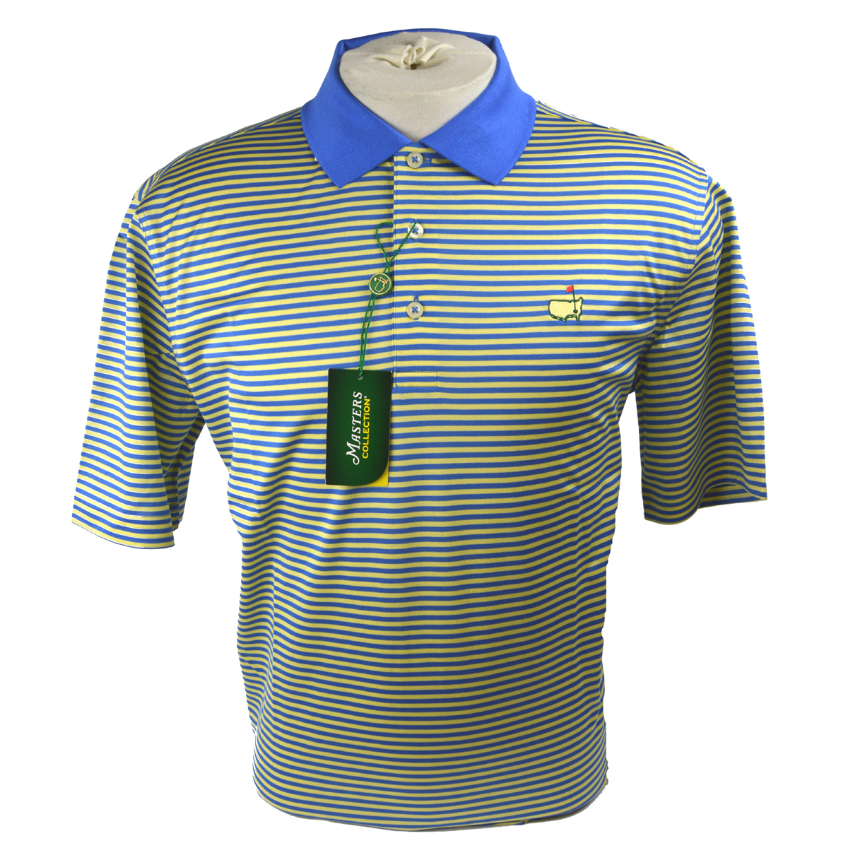 Masters jersey golf shirt blue and yellow stripes for Yellow golf polo shirts