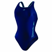 Speedo Poly Spandex Solid Logo Pulse Back Swimsuit - Women's
