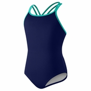 Speedo Solid Crossback Swimsuit - Girl's