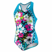 Speedo Splatter Hibiscus Sport Splice Racerback Swimsuit - Girl's