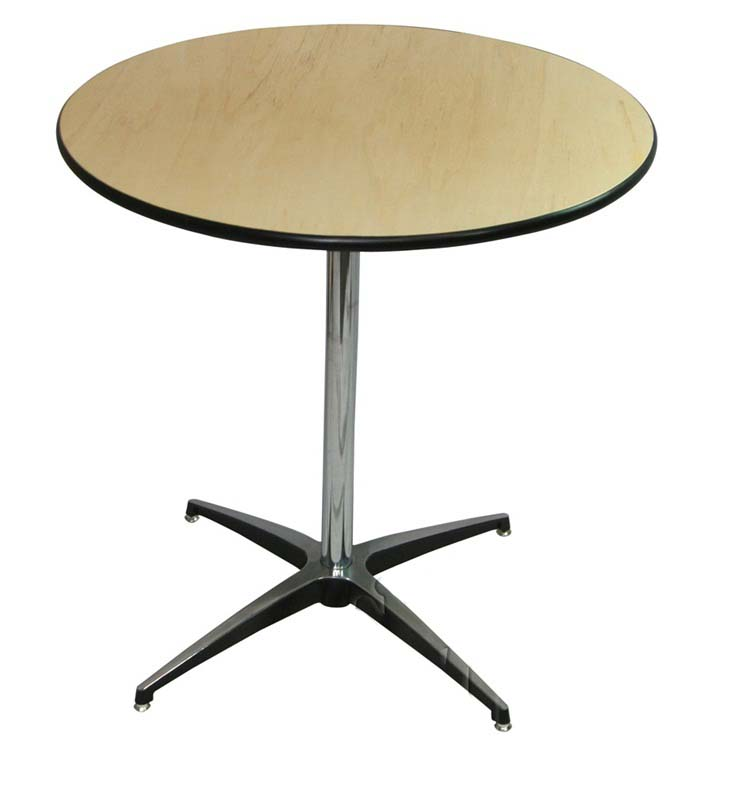 24 39 39 Round Elite Cocktail Series Table With 30 39 39 Chrome Finished Column