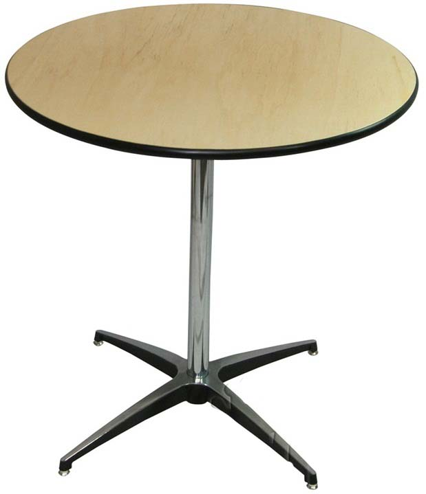 24 39 39 round elite cocktail series table with 42 39 39 chrome for Cocktail tables parts