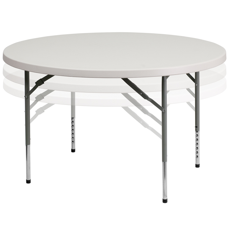 48u0027u0027 Round Height Adjustable Granite White Plastic Folding Table [RB 48  ADJUSTABLE GG]