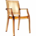 Arthur Polycarbonate Modern Stackable Dining Arm Chair - Transparent Amber [ISP053-TAMB-FS-CMP]