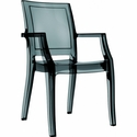 Arthur Polycarbonate Modern Stackable Dining Arm Chair - Transparent Black [ISP053-TBLA-FS-CMP]