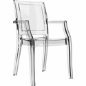 Arthur Polycarbonate Modern Stackable Dining Arm Chair - Transparent Clear [ISP053-TCL-FS-CMP]