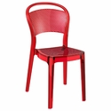 Bee Polycarbonate Stackable Dining Chair - Transparent Red [ISP021-TRED-FS-CMP]