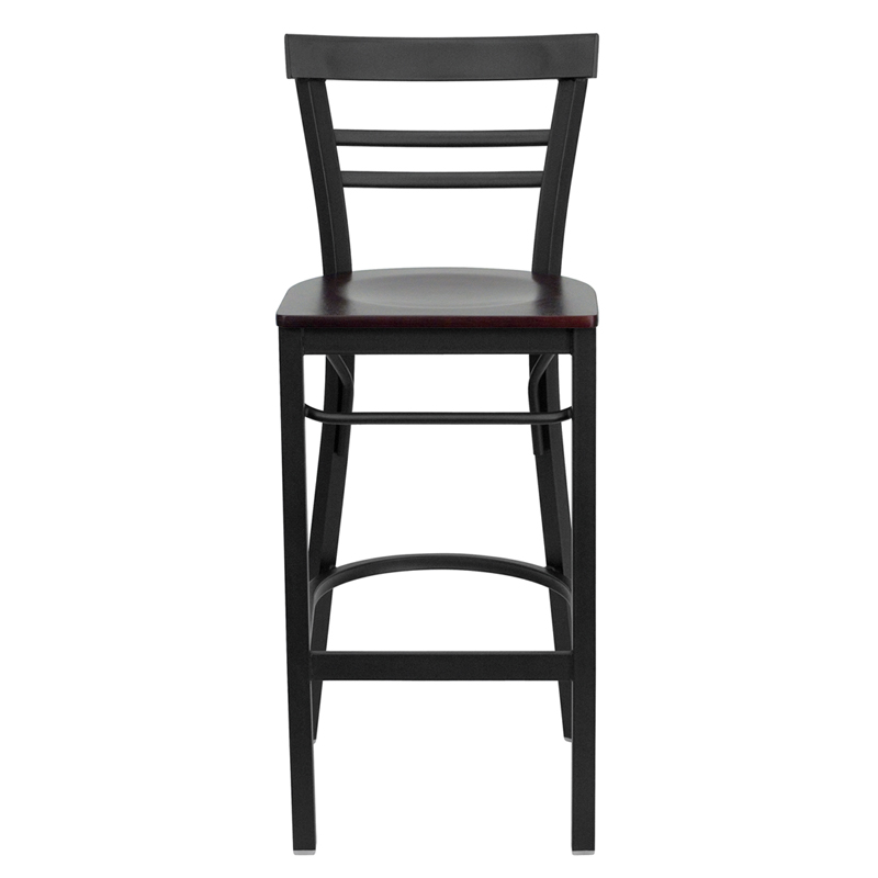 Black Ladder Back Metal Restaurant Barstool With Mahogany