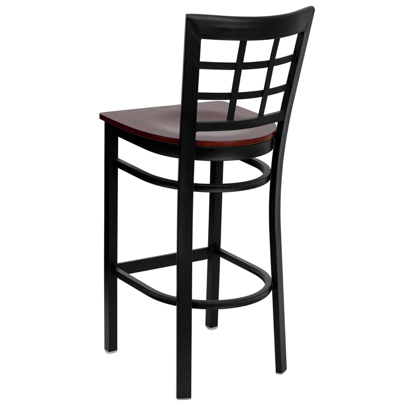 Black Window Back Metal Restaurant Barstool with Mahogany Wood Seat, BFDH-85MWBARNIW