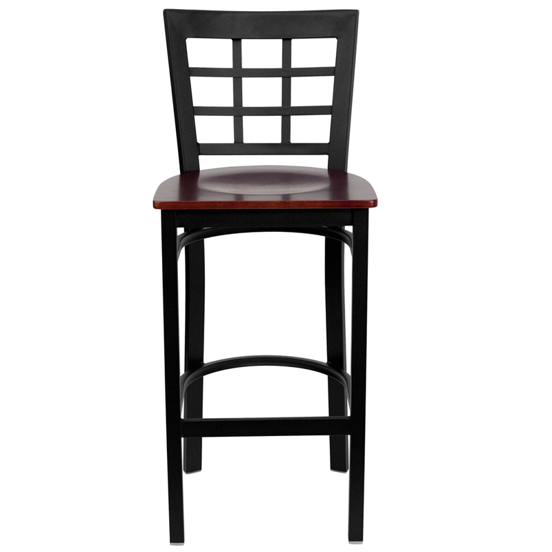Black window back metal restaurant barstool with mahogany
