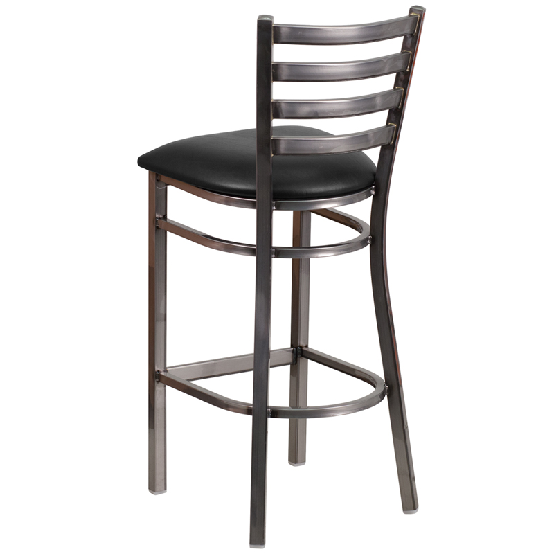 Clear coated ladder back metal restaurant barstool with