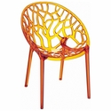 Crystal Modern Design Polycarbonate Dining Chair - Transparent Orange [ISP052-TORA-FS-CMP]