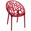 Crystal Modern Design Polycarbonate Dining Chair - Transparent Red [ISP052-TRED-FS-CMP]