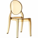 Elizabeth Polycarbonate Stackable Dining Chair with Oval Back - Transparent Amber [ISP034-TAMB-FS-CMP]