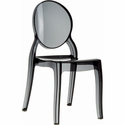 Elizabeth Polycarbonate Stackable Dining Chair with Oval Back - Transparent Black [ISP034-TBLA-FS-CMP]