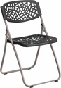 HERCULES Fascination Series 661 lb. Capacity Black Plastic Folding Chair with Silver Frame [RUT-NC598A-BK-GG]