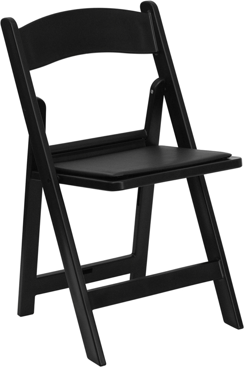 Superior Capacity Black Resin Folding Chair With Black Vinyl Padded Seat [LE L 1  BLACK GG]