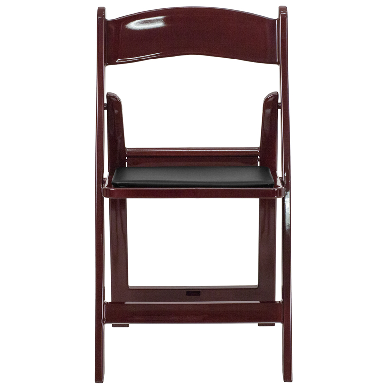 HERCULES Series 1000 Lb. Capacity Red Mahogany Resin Folding Chair With  Black Vinyl Padded Seat [LE L 1 MAH GG]