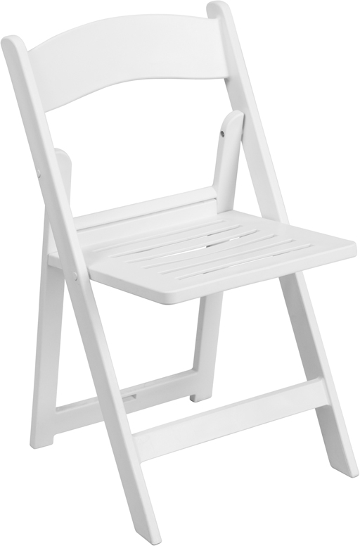 capacity white resin folding chair with slatted seat