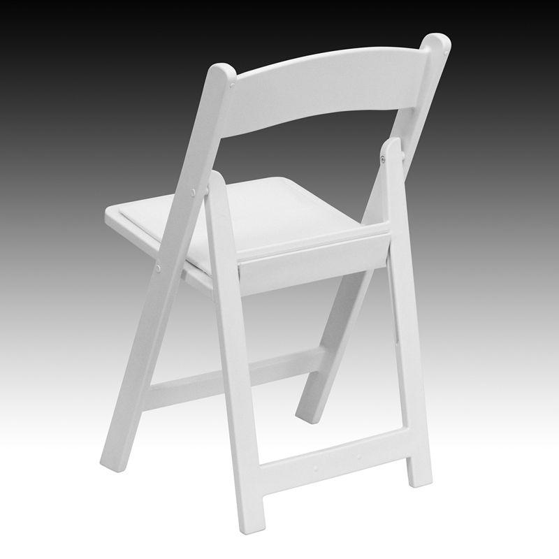HERCULES Series 1000 Lb. Capacity White Resin Folding Chair With White  Vinyl Padded Seat [LE L 1 WHITE GG]