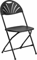 HERCULES Series 800 lb. Capacity Black Plastic Fan Back Folding Chair [LE-L-4-BK-GG]