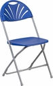 HERCULES Series 800 lb. Capacity Blue Plastic Fan Back Folding Chair [LE-L-4-BL-GG]