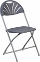 HERCULES Series 800 lb. Capacity Charcoal Plastic Fan Back Folding Chair [LE-L-4-CH-GG]