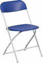 HERCULES Series 800 lb. Capacity Premium Blue Plastic Folding Chair with White Frame [LE-L-3-BLUE-WH-GG]