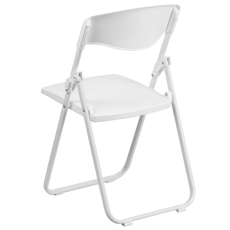 HERCULES Series 880 Lb. Capacity Heavy Duty White Plastic Folding Chair  With Built In Ganging Brackets [RUT I WHITE GG]