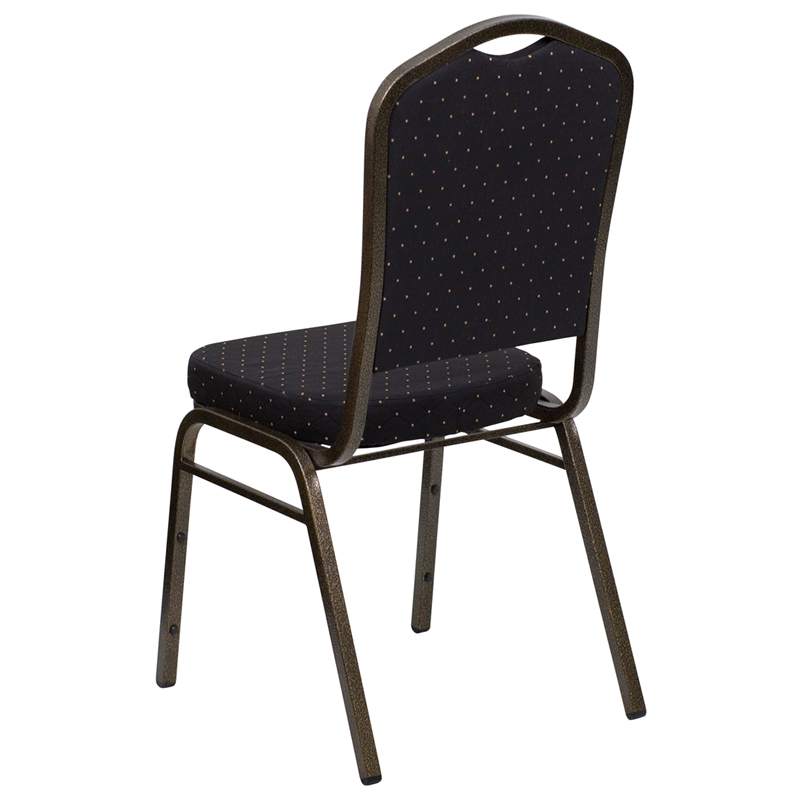 Superior HERCULES Series Crown Back Stacking Banquet Chair In Black Patterned Fabric    Gold Vein Frame [FD C01 GOLDVEIN S0806 GG]