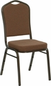 HERCULES Series Crown Back Stacking Banquet Chair in Coffee Fabric - Gold Vein Frame [NG-C01-COFFEE-GV-GG]