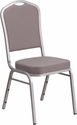 HERCULES Series Crown Back Stacking Banquet Chair in Gray Dot Fabric - Silver Frame [FD-C01-S-6-GG]